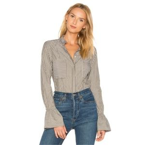 FRAME Striped Fitted Blouse Flared Cuffs in Sage